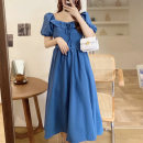 Dress Summer 2021 Blue [French girl] M [80-95 Jin], l [95-115 Jin], XL [115-135 Jin], 2XL [135-150 Jin], 3XL [150-170 Jin], 4XL [170-200 Jin] longuette singleton  Short sleeve commute square neck High waist Solid color Socket A-line skirt puff sleeve Others Type A Other / other Retro Chiffon other