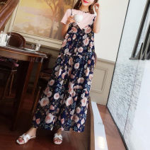 Dress Summer 2021 longuette Two piece set Short sleeve commute V-neck Broken flowers Socket A-line skirt routine camisole Type A Other / other Retro 81% (inclusive) - 90% (inclusive) Chiffon