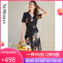 Dress Summer 2021 Tulip with black background L XL 2XL 3XL Mid length dress singleton  Short sleeve commute V-neck middle-waisted Broken flowers Socket A-line skirt routine 30-34 years old Type A Newoman / Neumann Korean version Lace up button print 2115ZS31003 More than 95% silk Mulberry silk 100%