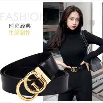 Belt / belt / chain Double skin leather female belt leisure time Single loop Young and middle aged Smooth button letter Glossy surface 3.3cm alloy alone Jmenyo / gemanya 95cm 100cm 105cm 110cm 115cm 120cm Spring / summer 2018