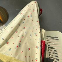 skirt Summer 2021 S,M,L Mustard green flower Mid length dress commute High waist A-line skirt Broken flowers Type A 25-29 years old 2-2 mustard green floret other polyester fiber Print, fold Korean version