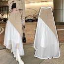 skirt Spring 2021 S,M,L Khaki, card + white longuette commute High waist Irregular Solid color Type A 25-29 years old 30% and below Chiffon Other / other polyester fiber Tuck, open back, fold, fungus, pocket, asymmetric, strap, button, mesh, zipper, swallow tail, stitching lady