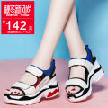 Sandals Beige 3060 white 3060 Jin Shang superfine fiber Muffin bottom Summer of 2018 Toe High heel (5-8cm) Korean version Colorblock Velcro daily TPU