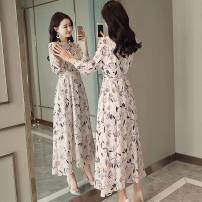 Dress Spring of 2019 M L XL XXL Mid length dress singleton  Long sleeves commute Crew neck middle-waisted Broken flowers Socket Big swing routine Others 25-29 years old Pink girl Korean version Bow, ruffle, lace up, zipper print HF19AS9688 More than 95% Chiffon polyester fiber Polyester 100%