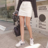 skirt Summer of 2019 XS,S,M,L White, black Short skirt Versatile High waist Denim skirt Solid color Type A 18-24 years old yxgg000107 91% (inclusive) - 95% (inclusive) Denim Other / other cotton Pockets, rags, buttons, zippers 351g / m ^ 2 (including) - 400g / m ^ 2 (including)