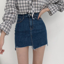 skirt Spring of 2019 XS,S,M,L Short skirt Versatile High waist Denim skirt Solid color Type H 18-24 years old 91% (inclusive) - 95% (inclusive) Denim Other / other cotton 401g / m ^ 2 (inclusive) - 500g / m ^ 2 (inclusive)