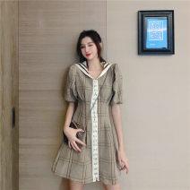 Women's large Summer 2020 Plaid Dress [M: suitable for 80-100 kg], [l: suitable for 100-120 kg], [XL: suitable for 120-140 kg], [2XL: suitable for 140-160 kg], [3XL: suitable for 160-180 kg], [4XL: suitable for 180-200 kg] Dress singleton  commute Self cultivation thin Short sleeve lattice Admiral