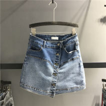 skirt Spring 2021 S,M,L,XL blue Short skirt street Natural waist A-line skirt Solid color Type A 71% (inclusive) - 80% (inclusive) Denim cotton Asymmetry, button Europe and America