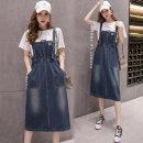 Dress Summer 2020 One piece denim strap skirt (high quality fabric) S,M,L,XL,2XL,3XL,4XL,5XL longuette singleton  straps pocket Denim
