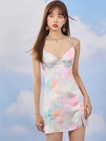 Dress Spring 2021 Oil painting color S,M,L Short skirt singleton  Sleeveless commute V-neck High waist letter zipper A-line skirt other Others 18-24 years old Type A Egg laying meow Retro SC-A1693 81% (inclusive) - 90% (inclusive) other other