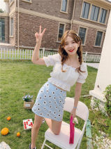 skirt Summer 2020 S,M,L Light blue flower Club Short skirt commute High waist Ruffle Skirt Decor Type A 18-24 years old DD-A1237 81% (inclusive) - 90% (inclusive) other Egg laying meow other Retro 181g / m ^ 2 (including) - 200g / m ^ 2 (including)