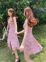 Dress Summer 2020 Long, short S,M,L Middle-skirt singleton  Sleeveless commute square neck High waist Broken flowers zipper A-line skirt other camisole 18-24 years old Type A Egg laying meow Retro 81% (inclusive) - 90% (inclusive) other