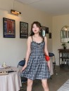 Dress Summer 2020 Black check S,M,L Short skirt singleton  Sleeveless commute square neck High waist Decor zipper other other camisole 18-24 years old Type A Egg laying meow Retro 81% (inclusive) - 90% (inclusive) other
