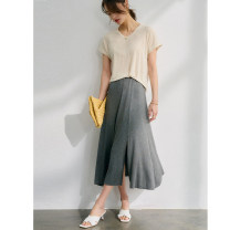 skirt Spring 2021 S,M,L,XL Hemp grey short, hemp grey long longuette commute High waist Umbrella skirt Solid color 25-29 years old 91% (inclusive) - 95% (inclusive) Primary cotton lady