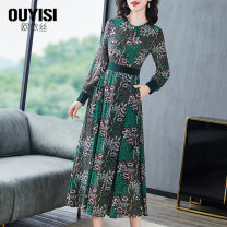 Dress Spring 2020 green S M L XL 2XL longuette singleton  Long sleeves commute Crew neck middle-waisted Big flower Socket Big swing shirt sleeve Others 35-39 years old Type A Ouis Zipper print with pocket stitching OL203013 More than 95% Chiffon polyester fiber Polyester 100%