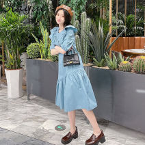 Dress Summer 2021 blue S M L XL longuette singleton  Short sleeve commute Lotus leaf collar High waist Solid color Socket A-line skirt routine 18-24 years old Type A Good appointment lady Lace up button JY210408 More than 95% cotton Cotton 100% Pure e-commerce (online only)