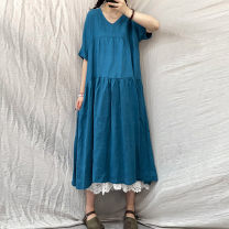 Women's large Summer 2021 Blue, green, red, purple Big size average Dress singleton  commute easy thin Socket Short sleeve Solid color Retro Crew neck routine Medium length other