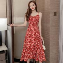 Dress Summer 2020 Red, black skirt S,M,L,XL longuette singleton  Sleeveless commute High waist Broken flowers Socket Ruffle Skirt routine 25-29 years old Type A lady Splicing 81% (inclusive) - 90% (inclusive)