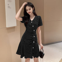 Dress Summer 2021 S,M,L,XL Miniskirt singleton  Sleeveless commute Crew neck High waist lattice zipper other Lotus leaf sleeve Others 18-24 years old Type A Korean version Button 51% (inclusive) - 70% (inclusive) other polyester fiber
