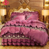 Bedding Set / four piece set / multi piece set Polyester (polyester fiber) Embroidered quilting Solid color 133x72 The show of Gu Dai Polyester (polyester fiber) 4 pieces other Bed sheet type, bed cover type, bed skirt type, bed cover type Qualified products European style other Reactive Print  Plush