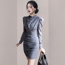 Dress Spring 2021 Picture color S,M,L,XL Short skirt singleton  Long sleeves commute stand collar middle-waisted stripe Pencil skirt 18-24 years old Korean version fold