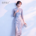 cheongsam Spring of 2018 S M L XL XXL Silver Grey Pink three quarter sleeve Short cheongsam Retro Low slit daily Oblique lapel Solid color 18-25 years old Embroidery L9097 Famous foreign lady nylon Polyamide (nylon) 60% polyester 40% Pure e-commerce (online only) 51% (inclusive) - 70% (inclusive)