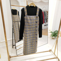 Dress Winter 2020 Pale blue yellow S,M,L,XL longuette Two piece set Long sleeves commute High waist lattice Socket A-line skirt routine straps 25-29 years old Type A Button M1941A4129 polyester fiber
