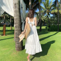 Dress Summer 2021 White green S M L XL Mid length dress singleton  Sleeveless Sweet square neck High waist Solid color Socket Big swing other straps 18-24 years old Type A Princess Yong Bow and ruffle 9655# More than 95% other other Other 100% Bohemia Pure e-commerce (online only)