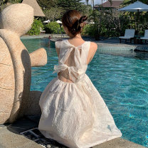 Dress Summer 2021 Apricot S M L Mid length dress singleton  Sleeveless Sweet square neck High waist Solid color Socket A-line skirt other straps 18-24 years old Type A Princess Yong Open back lace More than 95% other other Other 100% Bohemia Pure e-commerce (online only)