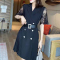 Dress Spring 2021 Black and white S M L XL Middle-skirt singleton  Long sleeves commute High waist 25-29 years old Minghui Korean version GZ324 More than 95% polyester fiber Polyester 100% Pure e-commerce (online only)