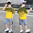 suit Queldini Light green purple yellow 110cm 120cm 130cm 140cm 150cm 160cm male summer Korean version Short sleeve + pants 2 pieces routine There are models in the real shooting Single breasted nothing Solid color cotton children Expression of love KP89877475 other Summer 2021 Chinese Mainland