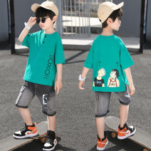 suit Queldini Yellow green Khaki 110cm 120cm 130cm 140cm 150cm 160cm male summer Korean version Short sleeve + pants 2 pieces routine There are models in the real shooting Socket nothing Cartoon animation Cotton and hemp children Expression of love JD2116 Summer 2021 Chinese Mainland Huzhou City