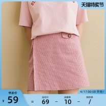 skirt Summer of 2018 S M L Short skirt Retro High waist A-line skirt lattice Type A 18-24 years old More than 95% omont cotton Button Cotton 100%