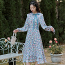 Dress Spring 2021 Turquoise XS,S,M,L longuette singleton  Long sleeves commute High waist Decor Socket A-line skirt 18-24 years old Retro Bow tie 31% (inclusive) - 50% (inclusive)