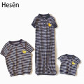 Parent child fashion Duckling black and white stripe A family of three Female, male, neutral Other / other wh19001 summer Thin money stripe DIY T-shirt Cotton blended fabric L,M,S Class A XL,XXL 12 months, 18 months, 2 years old, 3 years old, 4 years old, 5 years old Chinese Mainland