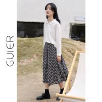 skirt Spring 2021 S,M,L blue Mid length dress High waist A-line skirt Broken flowers Type A 1599# Embroidery