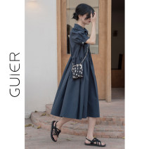 Dress Spring 2021 Navy blue, white S,M,L Mid length dress singleton  Long sleeves Polo collar High waist Solid color Single breasted A-line skirt puff sleeve Type A Fold, lace up, button 1555#