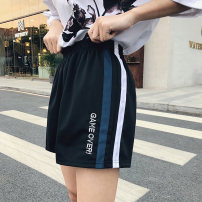 Casual pants 003 black, 002 black, 001 black, 005 black M,L,XL,2XL Summer of 2019 shorts Wide leg pants High waist commute Thin money 18-24 years old 91% (inclusive) - 95% (inclusive) polyester fiber Korean version Embroidery