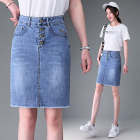 skirt Summer 2021 26,27,28,29,30,31,32,33 As shown in the figure Short skirt High waist A-line skirt Solid color 25-29 years old 71% (inclusive) - 80% (inclusive) Denim Love of brother Hua other Splicing