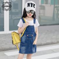 Dress One piece denim skirt female Noble figure 100cm 170cm 150cm 120cm 140cm 160cm 130cm 110cm Other 100% spring and autumn Korean version Strapless skirt Denim skirt 41931L51159 Class B Summer of 2019