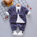Suit / Blazer Navy three piece suit grey three piece suit Khaki three piece suit 73cm 80cm 90cm 100cm 110cm Noble figure neutral No model leisure time spring and autumn lattice A button routine cotton Class A Cotton 95% other 5% SJ1 Nizi three piece set Cotton liner Winter of 2019