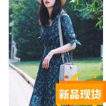 Dress Summer 2020 Deep cactus 2|S,4|M,6|L,8|XL,10|XXL Mid length dress singleton  Short sleeve commute V-neck Simplicity D23110558 More than 95% hemp