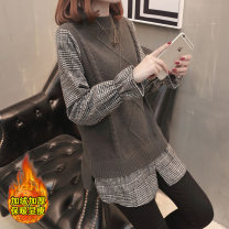 Wool knitwear Spring of 2018 S M L XL Long sleeves Fake two pieces Socket other More than 95% Medium length routine commute Straight cylinder Low crew neck pagoda sleeve lattice Socket Korean version 25-29 years old Bei Xueli Splicing Other 100% Pure e-commerce (online only)