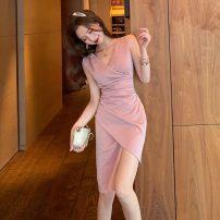 Dress Summer 2021 Smoke Pink S,M,L Short skirt singleton  Sleeveless commute V-neck High waist Solid color Socket Irregular skirt other Others 18-24 years old Korean version fold