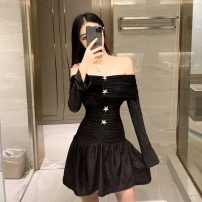 Dress Autumn 2020 black Average size Short skirt singleton  Long sleeves commute One word collar Solid color zipper A-line skirt pagoda sleeve Others 18-24 years old Type A Korean version Open back, zipper, diamond