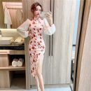 Dress Autumn 2020 rose S,M,L,XL Mid length dress singleton  Long sleeves commute stand collar High waist zipper One pace skirt bishop sleeve Others 18-24 years old Type H Korean version Lace, stitching, zipper