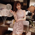 Dress Summer of 2019 Pink S,M,L Short skirt singleton  Sleeveless commute stand collar High waist Solid color zipper Ruffle Skirt Others 18-24 years old Type H Other / other Korean version Ruffles, zippers