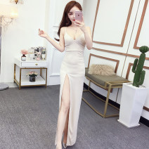 Dress Summer of 2019 Apricot, black S,M,L,XL longuette singleton  Sleeveless commute V-neck High waist Solid color zipper One pace skirt camisole 18-24 years old Type A Other / other Korean version Open back, zipper