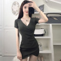 Dress Summer of 2019 Army green, black Average size Short skirt singleton  Short sleeve commute V-neck High waist Solid color Socket One pace skirt routine Others 18-24 years old Type H Other / other Korean version