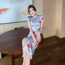 Dress Summer 2021 Decor S,M,L Short skirt singleton  Short sleeve commute stand collar High waist Solid color zipper One pace skirt routine Others 18-24 years old Type H Korean version Printed, cut out, zipper